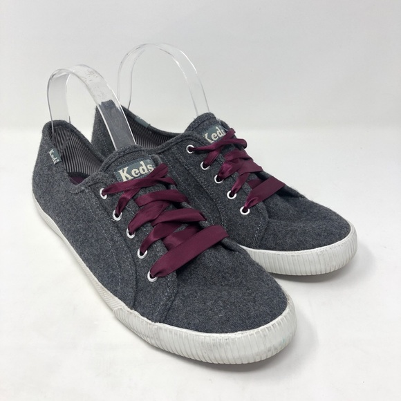 [Keds] Gray Felted Wool Ribbon Lace Up Sneakers